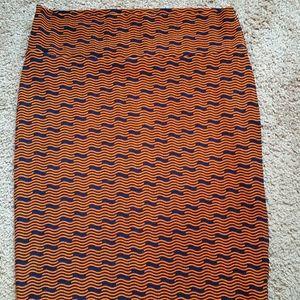 Navy/Orange Lularoe Cassie Pencil Skirt